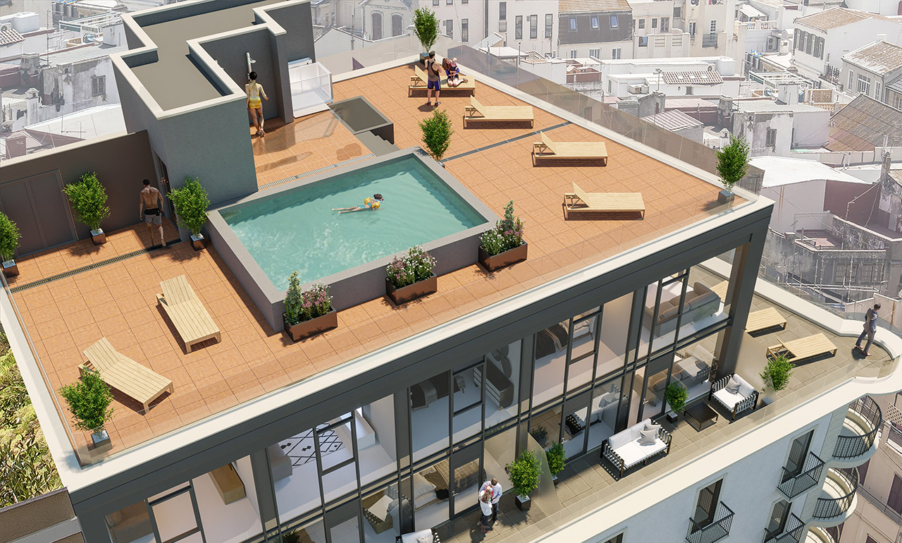CGI of roof terrace on The Residence