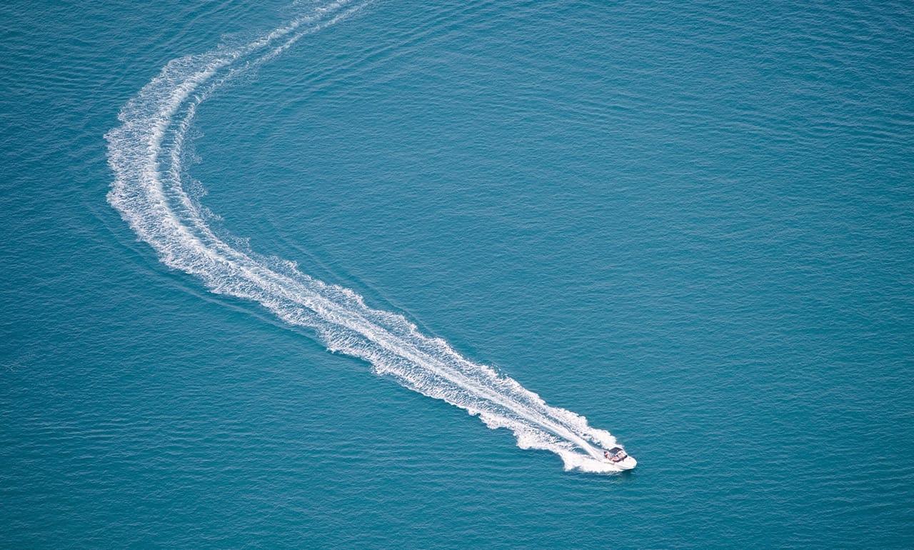 Moving speedboat on sea